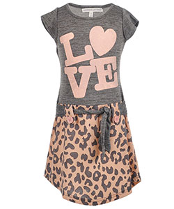 "Love at First Sight Little Girls' ""Spotted Block"" Belted Dress (Sizes 4 – 6X) - CookiesKids.com"