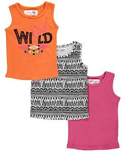 "Pink Velvet Little Girls' ""Girl Wild"" 3-Pack Tank Tops (Sizes 4 – 6X) - CookiesKids.com"