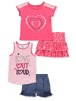 Stripes and Lace 4-Piece Shorts Set Outfit by Pink Velvet in Heart