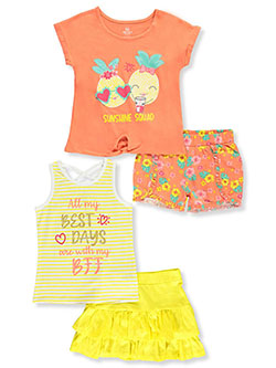 Tropical 4-Piece Shorts Set Outfit by Pink Velvet in Tropical, Girls Fashion