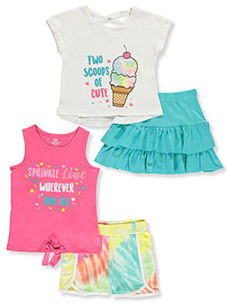 Glitter and Tie Dye 4-Piece Shorts Set Outfit by Pink Velvet in Ice cream