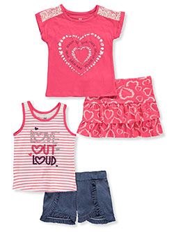 Stripes and Lace 4-Piece Shorts Set Outfit by Pink Velvet in Heart, Girls Fashion