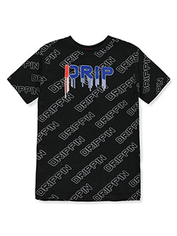 Boys' Drippin T-Shirt by Prime Threads in black and gray