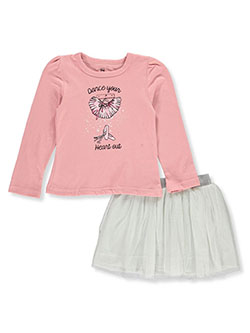Girls' Dance 2-Piece Skirt Set Outfit by Pink Velvet in Blush