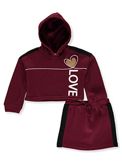 Love 2-Piece Skirt Set Outfit by Pink Athletics in Burgundy