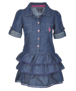 "U.S. Polo Assn. Little Girls' ""Crocheted Edge"" Dress (Sizes 4 – 6X) - CookiesKids.com"