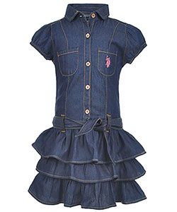 "U.S. Polo Assn. Little Girls' ""Prairie Ruffle"" 2-Piece Outfit (Sizes 4 – 6X) - CookiesKids.com"