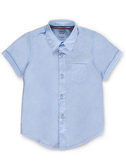 Unisex S/S Button-Down Shirt by French Toast in blue, white and yellow - $13.00