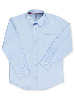Husky L/S Unisex Button-Down Shirt by French Toast in blue, white and yellow