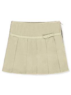 Girls' Pleated Scooter Skirt by French Toast in khaki and navy, scooters:::School Uniforms:::scooters Big Girls'