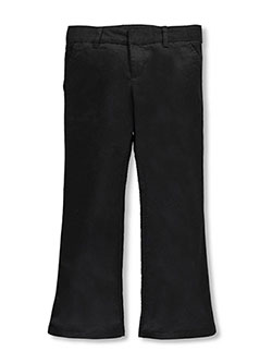Girls' Flat Front Flare Pants by French Toast in black, gray, green, khaki and navy