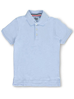 Big Boys' S/S Knit Polo Shirt by French Toast in blue, navy and white