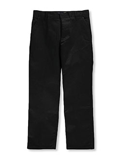 Husky Flat Front Wrinkle No More Double Knee Pants by French Toast in black, gray, khaki and navy