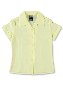 Big Girls' S/S Notched Collar Blouse by French Toast in Yellow
