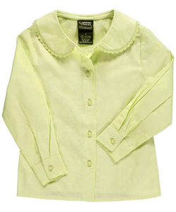 French Toast Little Girls' L/S Blouse with Lace Edging (Sizes 4 - 6X) - CookiesKids.com