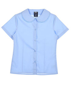 French Toast Little Girls' S/S Blouse with Lace Edging (Sizes 4 - 6X) - CookiesKids.com