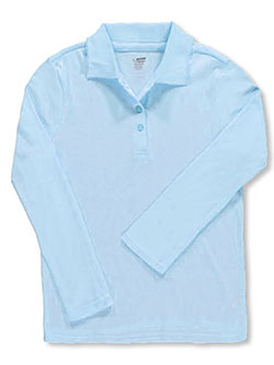 1e9bf5b87 Plus L/S Fitted Knit Polo With Picot Collar by French Toast in blue,