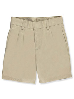 Unisex Pleated Front Twill Short with Adjustable Waist by French Toast in khaki and navy - $10.99