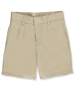 Pleated Front Unisex Twill Short with Adjustable Waist by French Toast in khaki and navy