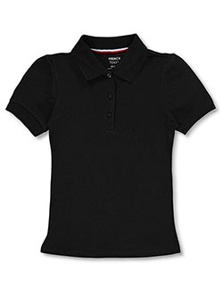 Girls' S/S Knit Polo by French Toast in black, blue, yellow and more
