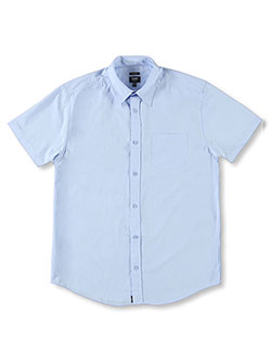Men's Uniforms S/S Button-Down Shirt by Lee in blue and white