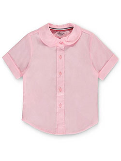 Big Girls' S/S Peter Pan Fitted Shirt by French Toast in pink, white and yellow