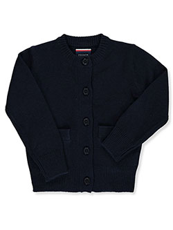 Toddler Crew-Neck Welt Pocket Cardigan by French Toast in Navy