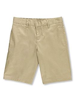 Husky Flat Front Twill Shorts with Adjustable Waist by French Toast in Khaki