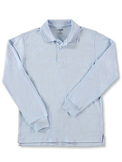 Unisex L/S Knit Polo Shirt by French Toast in blue, white and yellow