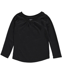 French Toast Baby Girls' Ruched V-Neck L/S T-Shirt - CookiesKids.com