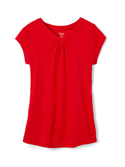 Girls' V-Neck T-Shirt by French Toast in Red