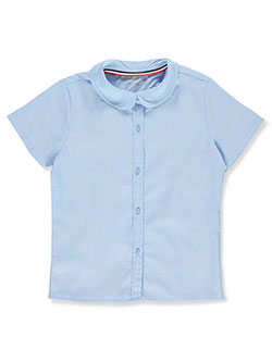 Girls' S/S Peter Pan Fitted Shirt by French Toast in blue, pink, white and yellow
