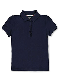 Toddler S/S Ruffle Pique Polo by French Toast in navy and pink