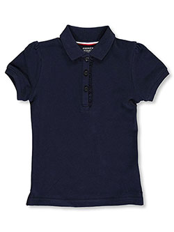 Little Girls' S/S Ruffle Pique Polo by French Toast in Navy