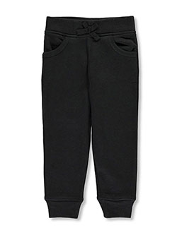 Little Girls' Fleece Joggers by French Toast in black, gray and navy