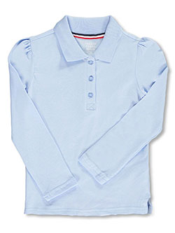 L/S Stretch Pique Polo Shirt by French Toast in Blue