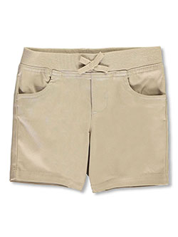 Wrinkle No More Pull-On Tie-Front Shorts by French Toast in khaki and navy - $9.99