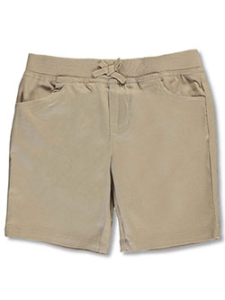 Wrinkle No More Pull-On Tie-Front Shorts by French Toast in khaki and navy