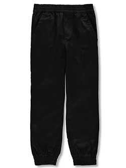 Boys' Twill Joggers by French Toast in black, gray, khaki and navy