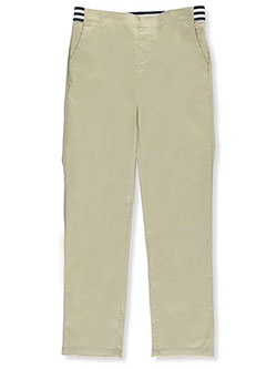 Plus Size Pull-On Contrast Waist Pants by French Toast in khaki and navy