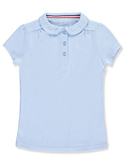 Toddler S/S Peter Pan Collar Polo by French Toast in blue and white