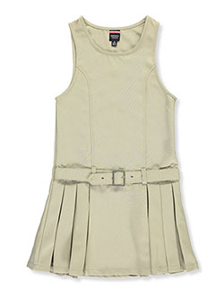 Big Girls' Buckle Belt Pleated Jumper by French Toast in khaki and navy - $11.99