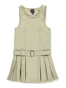 Buckle Belt Pleated Jumper by French Toast in khaki and navy - Jumpers