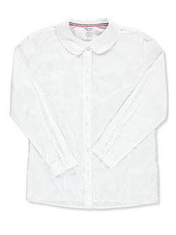 Big Girls' Plus L/S Peter Pan Blouse by French Toast in White