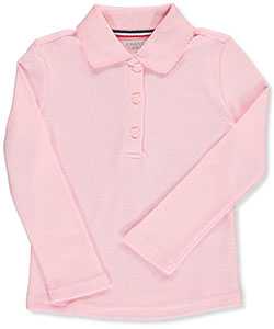 Toddler L/S Fitted Knit Polo with Picot Collar by French Toast in Pink
