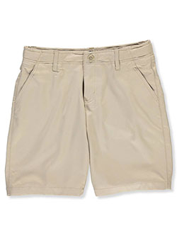 Husky Flat Front Stretch Performance Shorts by French Toast in Khaki