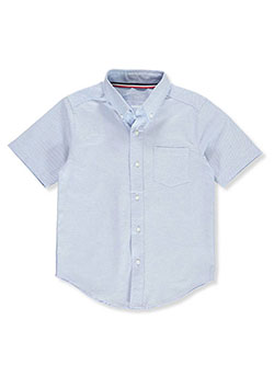 S/S Stretch Oxford Button-Down Shirt by French Toast in blue and white, School Uniforms