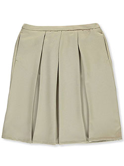 Girls' Pleated Skirt by French Toast in khaki and navy, School Uniforms