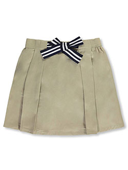 Girls' Bow Front Scooter Skirt by French Toast in khaki and navy