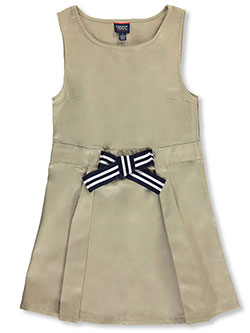 Girls' Bow Front A-Line Jumper by French Toast in khaki and navy
